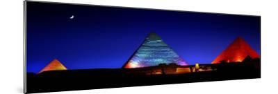 The Pyramids of Giza Lit Up at Night-Chris Hill-Mounted Photographic Print