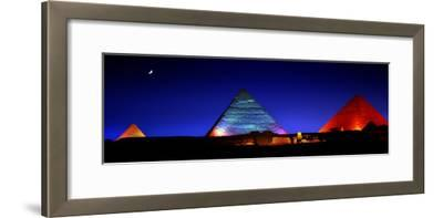 The Pyramids of Giza Lit Up at Night-Chris Hill-Framed Photographic Print