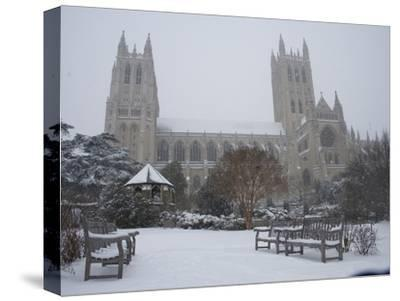 Washington Cathedral Wears a Coat of Fast Falling Snow-Stephen St^ John-Stretched Canvas Print