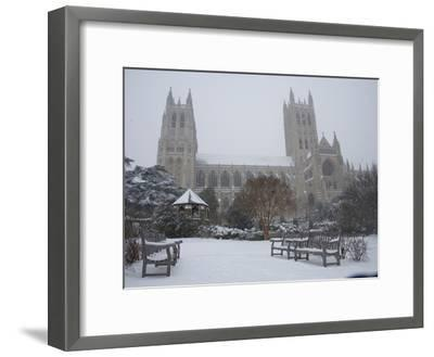 Washington Cathedral Wears a Coat of Fast Falling Snow-Stephen St^ John-Framed Photographic Print