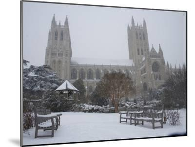 Washington Cathedral Wears a Coat of Fast Falling Snow-Stephen St^ John-Mounted Photographic Print