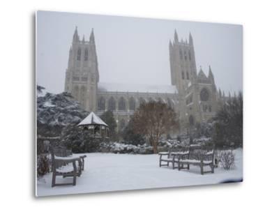 Washington Cathedral Wears a Coat of Fast Falling Snow-Stephen St^ John-Metal Print