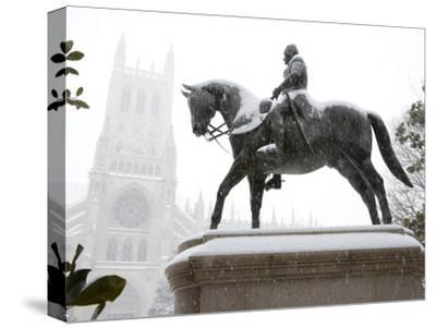 George Washington Watches over the Cathedral in 'Blizzard of 2010'-Stephen St^ John-Stretched Canvas Print