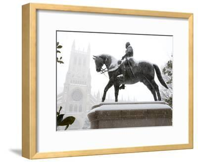 George Washington Watches over the Cathedral in 'Blizzard of 2010'-Stephen St^ John-Framed Photographic Print