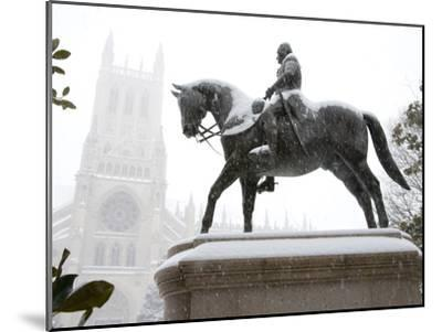 George Washington Watches over the Cathedral in 'Blizzard of 2010'-Stephen St^ John-Mounted Photographic Print
