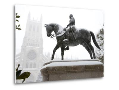 George Washington Watches over the Cathedral in 'Blizzard of 2010'-Stephen St^ John-Metal Print