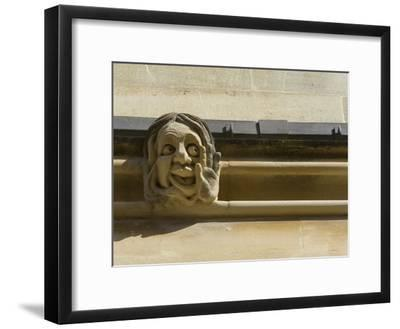 Sandstone Sculpture of a Funny Face, on the Wall of a Building-Joe Petersburger-Framed Photographic Print