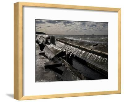 Windblown Icicles Coat a Pier on a Chesapeake Bay Winter Day-Stephen St^ John-Framed Photographic Print