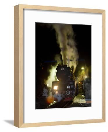 Polish State Railways Steam Locomotive after Bringing in Commuters-Kent Kobersteen-Framed Photographic Print