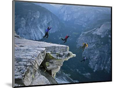 Climbers BASE jump from Half Dome and hike down the back of the mountain.-Jimmy and Lynsey Chin and Dyer-Mounted Photographic Print