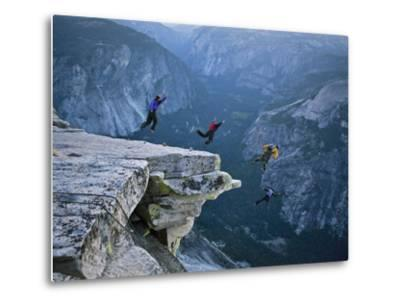 Climbers BASE jump from Half Dome and hike down the back of the mountain.-Jimmy and Lynsey Chin and Dyer-Metal Print