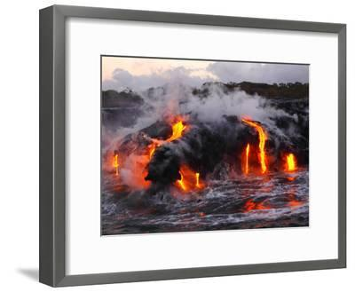 Hot Magma Spills into the Sea from under a Hardened Lava Crust-Patrick McFeeley-Framed Premium Photographic Print