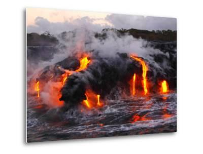 Hot Magma Spills into the Sea from under a Hardened Lava Crust-Patrick McFeeley-Metal Print