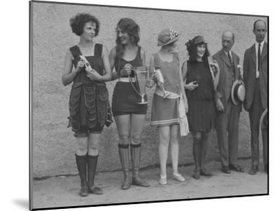 Girls in Summery Attire Hold Cup, Ribbons, and Awards They've Won-Maynard Owen Williams-Mounted Photographic Print