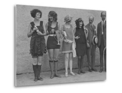 Girls in Summery Attire Hold Cup, Ribbons, and Awards They've Won-Maynard Owen Williams-Metal Print