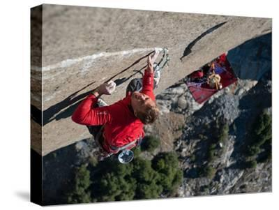 Without a Rope, a Climber Scales a Route on El Capitan-Jimmy Chin-Stretched Canvas Print