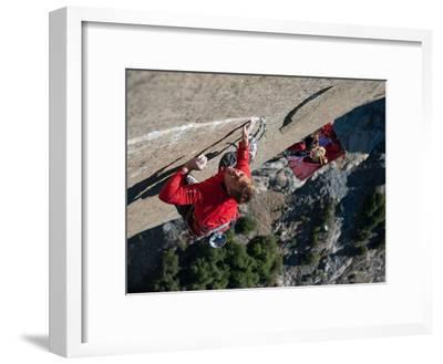 Without a Rope, a Climber Scales a Route on El Capitan-Jimmy Chin-Framed Photographic Print