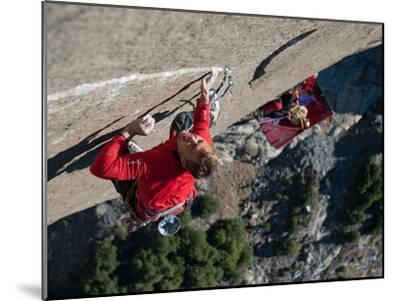 Without a Rope, a Climber Scales a Route on El Capitan-Jimmy Chin-Mounted Photographic Print