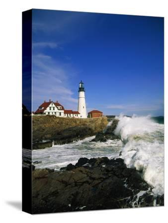 Lighthouse on Coastline-Cody Wood-Stretched Canvas Print