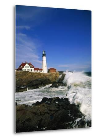 Lighthouse on Coastline-Cody Wood-Metal Print