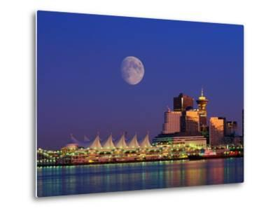 Moon Over Vancouver and Coal Harbor-Ron Watts-Metal Print