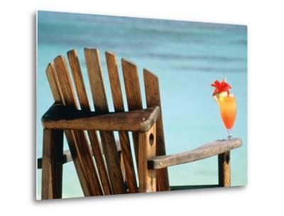 Seychelles, Denis Island, beach chair and fruit cocktail-Sergio Pitamitz-Metal Print