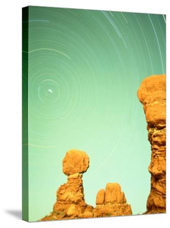 USA, Utah, Arches National Park and star trails-Frank Lukasseck-Stretched Canvas Print