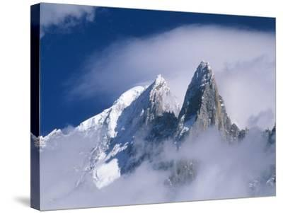 France, Alps, Mont Blanc Massif, Aiguille Verte, peak in clouds-Frank Lukasseck-Stretched Canvas Print