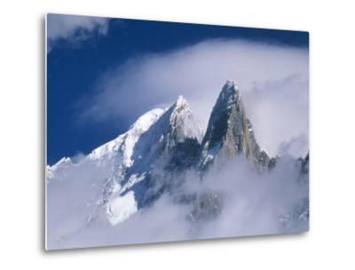 France, Alps, Mont Blanc Massif, Aiguille Verte, peak in clouds-Frank Lukasseck-Metal Print