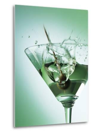 Martini with Olive Splash-Steve Lupton-Metal Print