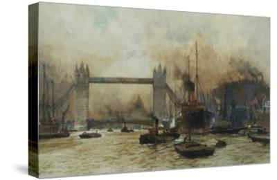 Shipping by Tower Bridge, London, England-Charles Dixon-Stretched Canvas Print