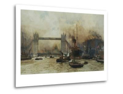 Shipping by Tower Bridge, London, England-Charles Dixon-Metal Print