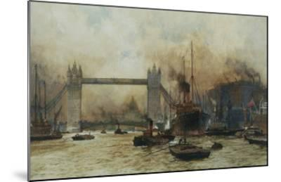 Shipping by Tower Bridge, London, England-Charles Dixon-Mounted Giclee Print