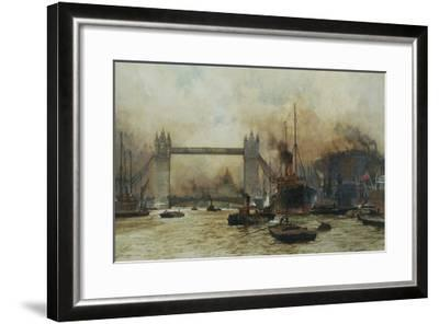 Shipping by Tower Bridge, London, England-Charles Dixon-Framed Giclee Print