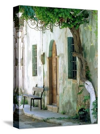 House in the village Vessa on Chios, Greece-Rainer Hackenberg-Stretched Canvas Print