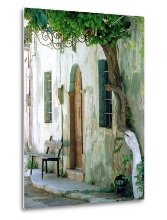House in the village Vessa on Chios, Greece-Rainer Hackenberg-Metal Print