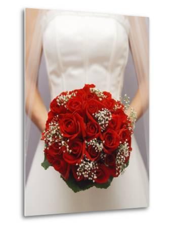 Bride with bridal bouquet--Metal Print