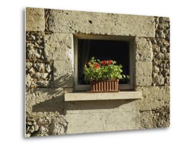 Red Geraniums on a window sill--Metal Print