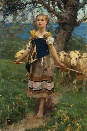 The Young Shepherdess-Francesco Paolo Michetti-Stretched Canvas Print