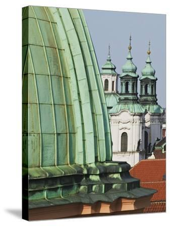 Church Dome and Bell Towers in Prague-William Manning-Stretched Canvas Print