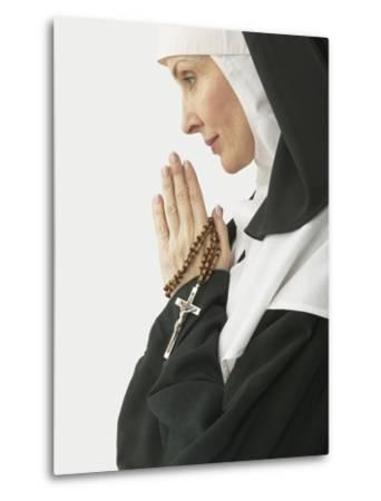 Praying Nun Holding Rosary--Metal Print