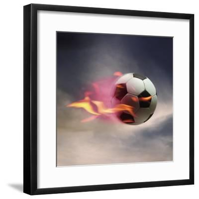 Flaming Soccer Ball--Framed Premium Photographic Print