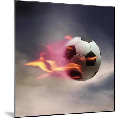Flaming Soccer Ball--Mounted Premium Photographic Print