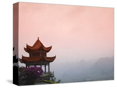 Temple Pavilion with Karst Hills in Mist-Keren Su-Stretched Canvas Print
