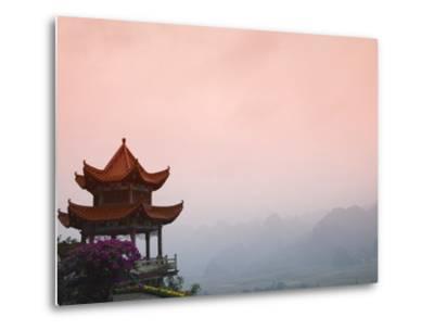 Temple Pavilion with Karst Hills in Mist-Keren Su-Metal Print