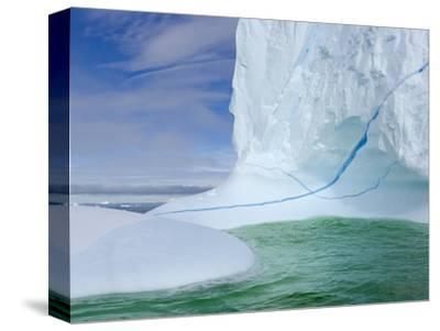 Iceberg with Long Cracks Floating Near Cape Evensen-John Eastcott & Yva Momatiuk-Stretched Canvas Print