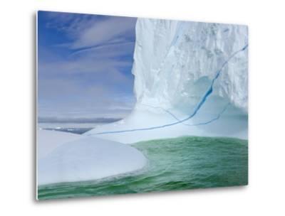 Iceberg with Long Cracks Floating Near Cape Evensen-John Eastcott & Yva Momatiuk-Metal Print