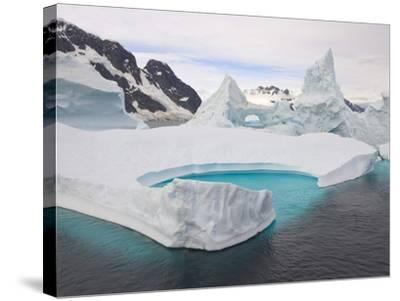 Stranded Icebergs in Shallow Bay Near Boothe Island-John Eastcott & Yva Momatiuk-Stretched Canvas Print