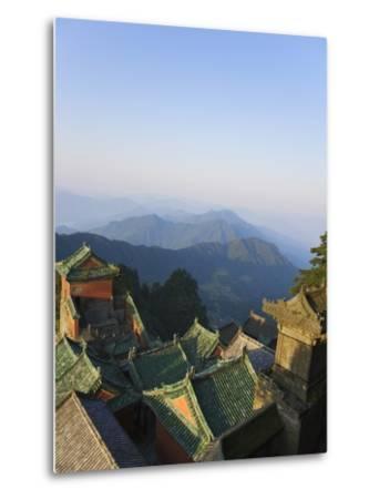 Taoist Temple in Mountain Landscape-Keren Su-Metal Print