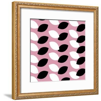 Black and White Leaves on Pink Pattern--Framed Giclee Print